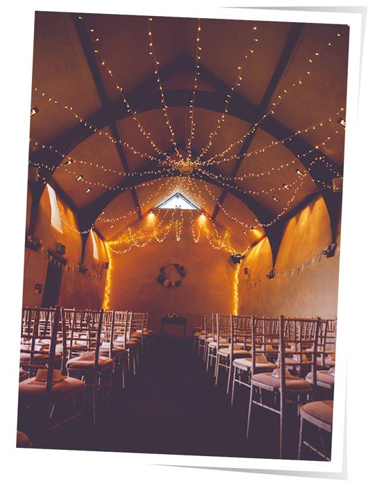 Oak Barn wedding fairy light canopy