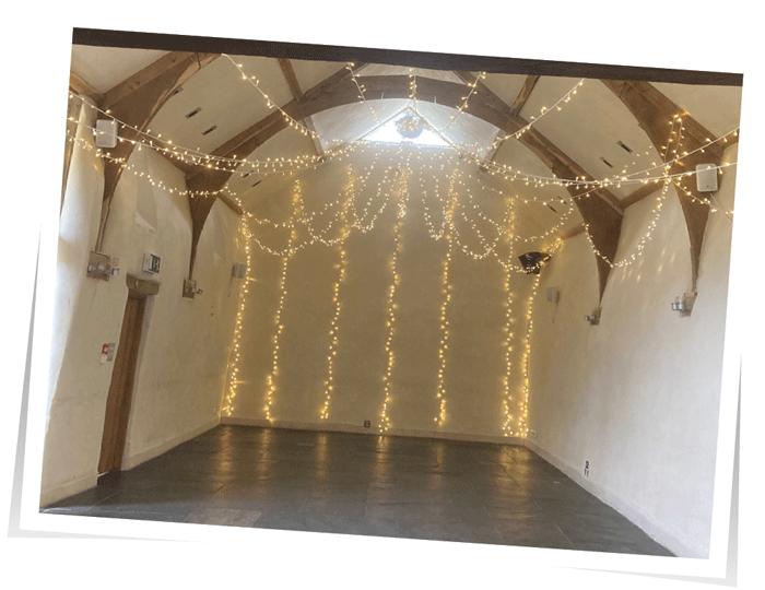 Oak Barn wedding lighting Devon